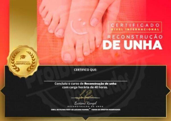 Certificados Nível Internacional Reconstrução de Unha