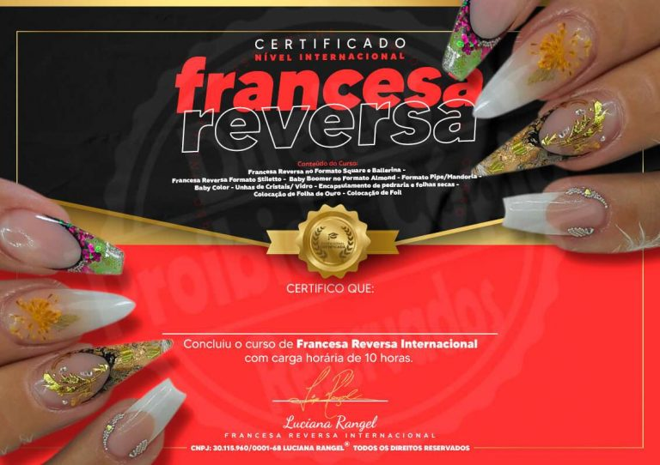 Certificado do Curso da Luciana Rangel - Curso Completo de Francesa Reversa